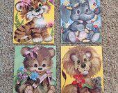 Vintage Kitsch Animal Prints Set of 4 14 x 11