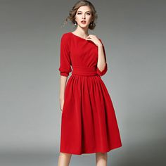 Buy Now (Elegant Style Boat Neck OL Pleated Dress) from Sheetag - http://www.sheetag.com/product/elegant-style-boat-neck-ol-pleated-dress/