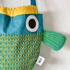 Japanese yellow mustard Pistachio green and Navy Koi carp fish shaped children toddler nursery rucksack drawstring backpack fabric lunch bag