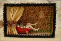 The Ladies Room Altered Art Shadow Box Miniature Shower Scene Girl in a Tub of Bubbles Mini Powder Bubble Bath Repurpose Ambient Atelier Art