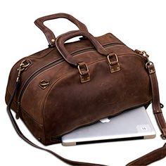 f7cfd60d39 MONT5 HUNZA Dark Brown Carry-on Cabin Luggage Vintage Leather Weekender  Shoulder Travel Duffel Bag