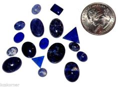NOS 17 Blue Sodalite and Lapis Gemstone Cabs Oval Round Triangle Rectangle