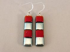 Red Silver Dichroic Fused Glass Dangle by CookedGlassCreations