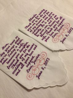 Set of two personalized wedding hankerchiefs by EmbroideryByLina, $36.00