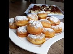 Krapfen (Berliner) Tarifi - YouTube Beignets, Churros, Turkish Recipes, Pretzel Bites, Donuts, French Toast, Granola, Food And Drink, Bread