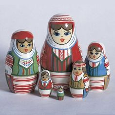 Russian Folk Art Spring Nesting Dolls Set of 6 The Largest Wooden Figure In this Set is Approx 4.5 Inches Tall by European Expressions This unique nesting doll set features five Belarussian girls wear