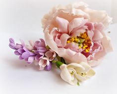 Barrette with Peony and Lilac - Wedding Hair Pieces - Barrettes - Women Hair Accessories - Flower Floral Barrettes - Gift by IrynaFleur on Etsy https://www.etsy.com/listing/225861203/barrette-with-peony-and-lilac-wedding