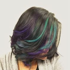 Got my #oilslick hair color last night! Now my new cut and color is complete.  @three13salonspa did an awesome job!