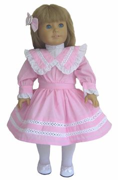 Pink Spring Party Dress + Hair Bow made for American Girl NELLIE Doll Clothes
