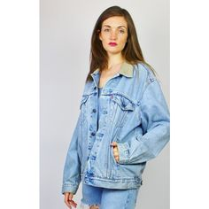 Re:dream Vintage Levis Light Blue  Cord Collar  Red Tab Denim Jacket ($53) ❤ liked on Polyvore featuring outerwear, jackets, blue, vintage denim jacket, light blue jean jacket, blue jackets, blue denim jacket and light blue denim jacket