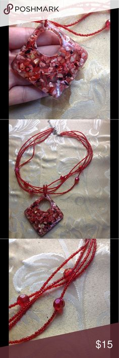 Red Confetti Acrylic Beaded Necklace Red confetti acrylic beaded necklace with adjustable chain. Jewelry Necklaces