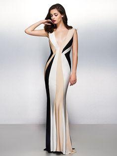 Formal Evening Dress - Multi-color Trumpet/Mermaid V-neck Sweep/Brush Train Jersey - USD $89.99