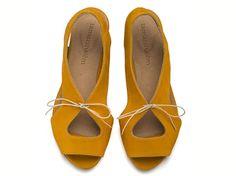 Lola Yolk, Yellow Sandals, Leather Sandals, Handmade sandals, Flat Sandals on Etsy, $159.00