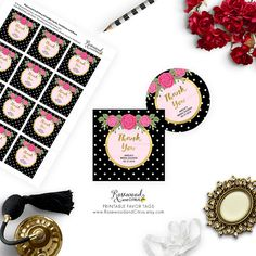 7905a1ffe71 ... Wedding Shower Invitations - Rosewood and Citrus on Etsy · Pink Floral  Printable Favor Tags