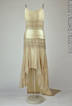 Dress  Lucien Lelong  1928, 20th century  Fibre: silk (satin, chiffon, embroidery); glass (diamante); metal (gilt thread); sewn