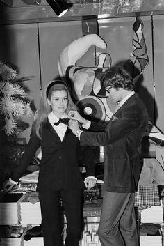 Catherine Deneuve with Yves Saint Laurent, 1967.