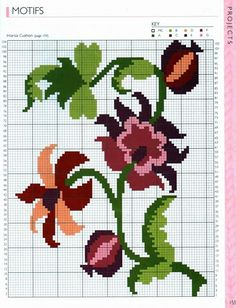 Flower x-stitch pattern 123 Cross Stitch, Beaded Cross Stitch, Cross Stitch Flowers, Cross Stitch Designs, Cross Stitch Embroidery, Embroidery Patterns, Hand Embroidery, Cross Stitch Patterns, Knitting Charts