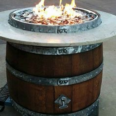 Outdoor Wine Barrel Fire Pit Hand Made in San Diego