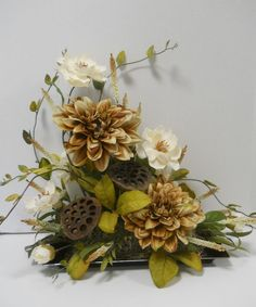 The 101 best decorating with flowers images on pinterest in 2018 silk magnolia and dahlia flower floral arrangement crafted in the usa mightylinksfo