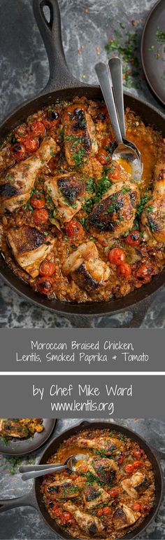 Moroccan Braised Chicken, Lentils, Smoked Paprika & Tomato Moroccan Braised Chicken & Lentils, Smoked Paprika, Tomato by Chef Mike Ward - Recipe at Chicken Lentil, Braised Chicken, Chicken Stuffing, Morrocan Food, Moroccan Rice, One Skillet Meals, Cooking Recipes, Healthy Recipes, Healthy Food