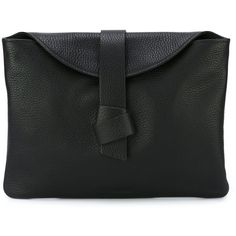Jil Sander Navy Knot Detail Clutch (915 BRL) ❤ liked on Polyvore featuring bags, handbags, clutches, black and jil sander navy