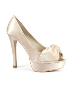 Gold (Gold) Cream Satin Bow Peep Toe Heels | 252718393 | New Look