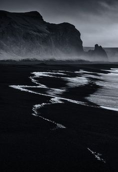 by Paul Andrew Black Sand Beach, Vik, Iceland Landscape Photography, Nature Photography, Photography Tricks, Digital Photography, Creative Photography, Nocturne, Black And White Photography, Scenery, Around The Worlds