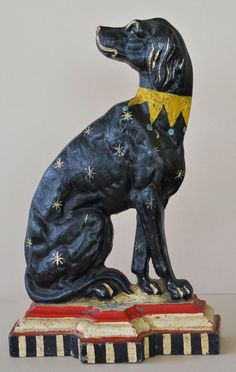 Large Antique Cast Iron Dog Doorstop. Black Dog w White Stars and Gold Collar on Red White & Blue Base.