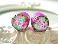 "Pretty cabochon plugs gauges  14mm 9/16"" colorful flowers"
