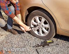 Save your back when loosening lug nuts - Fix a Flat Tire Survival Guide: http://www.familyhandyman.com/automotive/tires/fix-a-flat-survival-guide/view-all