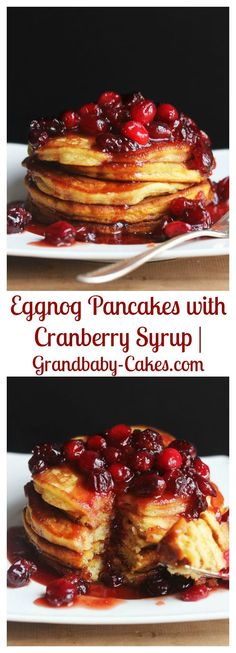 Eggnog Pancakes with Cranberry Syrup   Grandbaby-Cakes.com