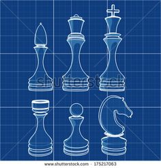 chess+pieces+drawings | complete set of chess pieces. Cad cartoon white drawing on blue ...