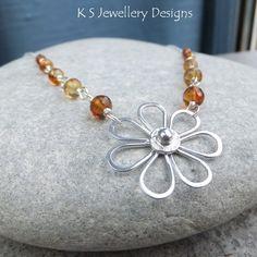 Sunstone Sterling Silver Daisy Necklace  by KSJewelleryDesigns