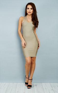 Danita Bandage Dress In Champagne Nude - SilkFred