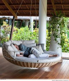 Cuddle up on this swing bed after a long day's work - Pinned for Bocazo.com the internet authority on real estate #swing