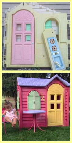 Little Tikes house Makeover. I used RUST-OLEUM spray paint that bonds to plastic. Playhouse Little Tikes house Makeover. I used RUST-OLEUM spray paint that bonds to plastic. Maison Little Tikes, Little Tikes House, Little Tikes Playhouse, Plastic Playhouse, Little Tykes, Playhouse Ideas, Playhouse Outdoor, Outdoor Toys, Outdoor Play