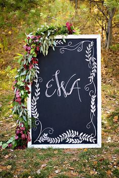 #handlettered #handwritten #calligraphy #monogram #wedding #ceremony #reception #event #chalkboard #signage #photoprop #personal #custom #sign #lettering #floral #garland #details