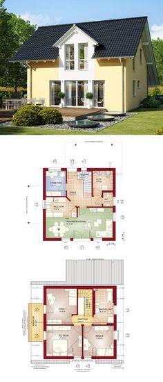 Einfamilienhaus Architektur klassisch mit Satteldach & Carport - Fertighaus Grundrisse Haus Celebration 125 V2 Bien Zenker Hausbau - HausbauDirekt.de