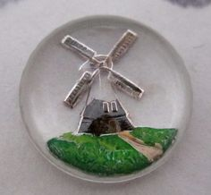 reverse painted intaglio windmill cabochon 13mm at Pitula The Jeweler