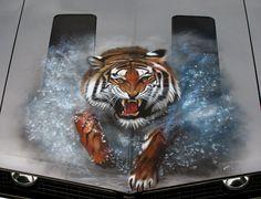 "Tiger Car | Tiger Shaun's"" Tiger Bonnet - Cars - Customs Department Airbrushing"