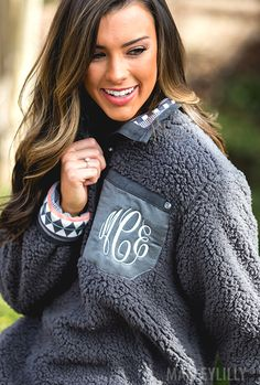 Warm up in this trendy Monogrammed Reversible Sherpa Pullover! Click the pic to see what the reversible aztec side looks like! SO cute!