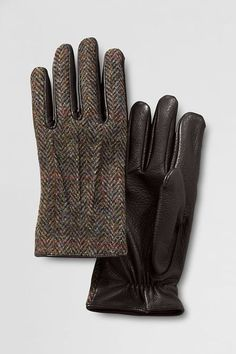 Harris Tweed Inset Gloves - Lands' End Tartan, Plaid, Leather Gloves, Leather Men, Winter Accessories, Fashion Accessories, Burberry, Safety Gloves, Cl Shoes