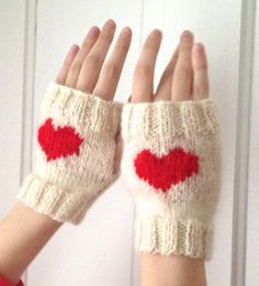 Wool Women's Fingerless Gloves Cream with Red by LaceyDaisyKnits