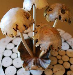 Carved Wood Mushrooms