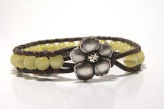 Yellow Beaded Wrap Bracelet, Leather Wrap Bracelet