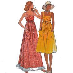 Vintage 70s Maxi Dress Pattern / Bohemian Sun by ScarlettsVault
