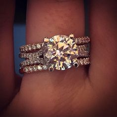 Uneek Engagement Ring and Wedding band Stack #weddingring #weddingbands
