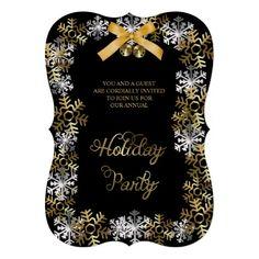 Black Elegant Snowflake Corporate Party Invite