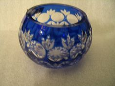Blue Vase Handcut Crystal Romania by elodiesmelodies on Etsy, $35.00