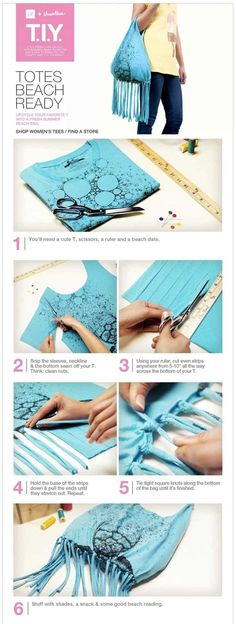 What to do with old t shirts - 15 ways to upcycle your old t .- What to do with old t shirts – 15 ways to upcycle your old tees DIY without sewing a beach bag or tote bag for the market from old t-shirt - Bags For Teens, Shirts For Teens, Outfits For Teens, Clutch Tutorial, Diy Tutorial, Stoff Design, T Shirt Diy, Sew Tshirt, Old Shirts